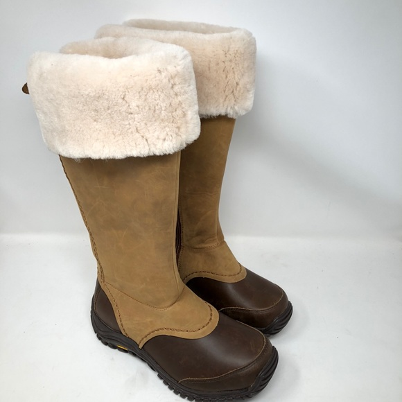 a61e14e7b33 UGG Miko Chestnut Boots Leather Wool Tall 1013479 NWT